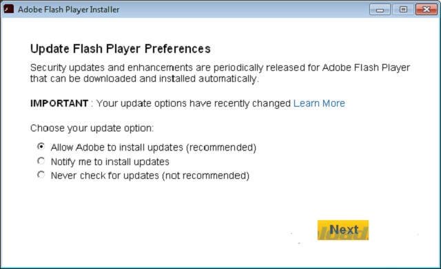 Lựa chọn Allow Adobe to install updates (recommended)